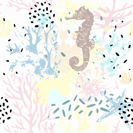 Illustration pour Creative abstract marine seamless pattern. Vector sea life background with shabby corals, distorted sea star, grunge texture, splatter, rough brush strokes. Hand drawn art illustration - image libre de droit