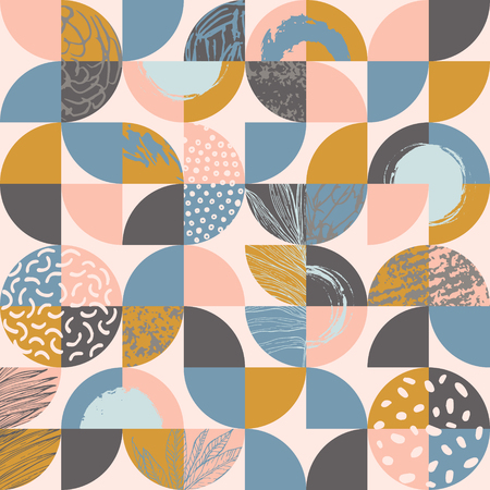 Illustration pour Modern seamless geometric pattern : semicircles and circles filled with line art of tropical leaves, grunge textures, doodles, geometric elements. Abstract background in retro scandinavian style - image libre de droit