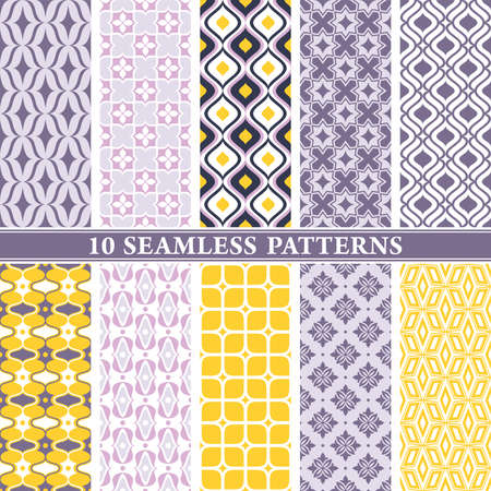 Illustration pour Seamless wallpaper patterns. Vintage and modern color background with geometric and floral elements. Vector illustration. - image libre de droit