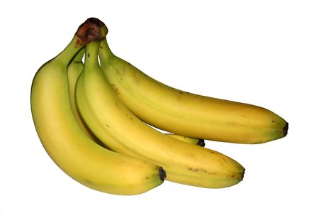 Fresh yellow bananas isolated on white background.