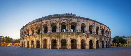 Evening view of Nîmes Arena - France