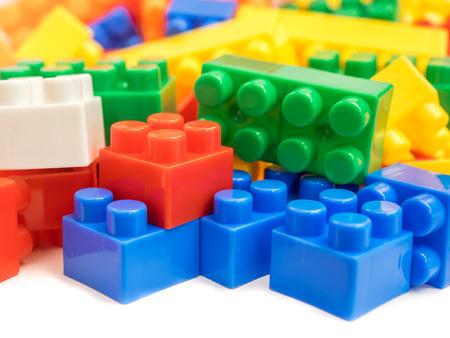 Photo pour Plastic building blocks, toy for children - image libre de droit