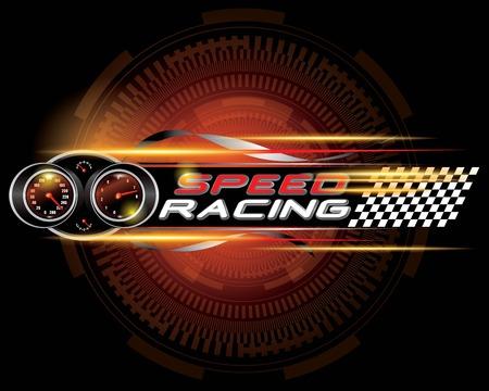 Speed racing with speedometer concept vector