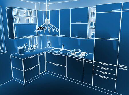 image 3d of modern indoor kitchen ambient