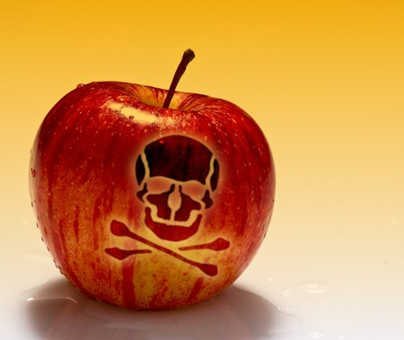 fine image of red poison apple on white background