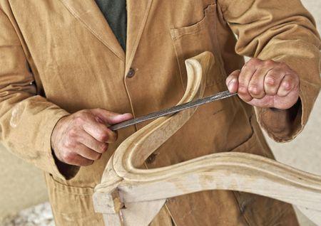 Photo pour fine detail of caucasian carpenter at work - image libre de droit