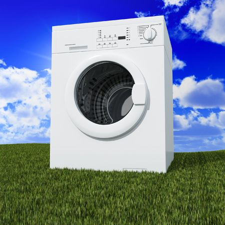 fine 3d washing machine with blue cloudy sky and green grass