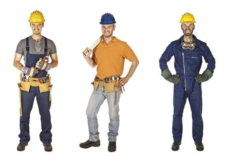 caucasian young different manual worker collection isolated on white