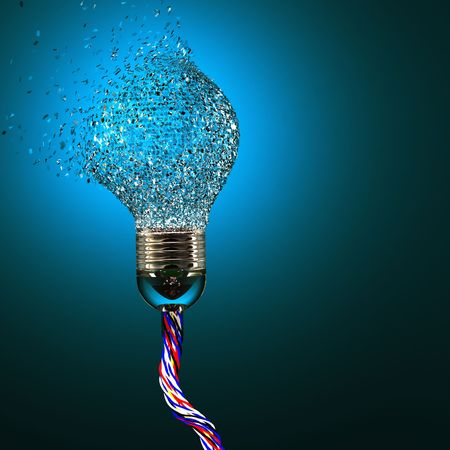 3d image of classic electric bulb explosion background