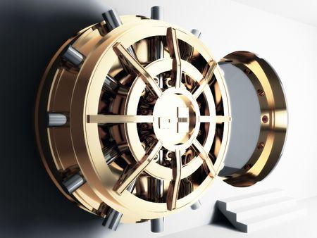 Photo pour bank golden vault door 3d - image libre de droit