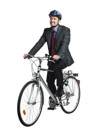 Photo for businessman ride bicycle isolated on white background - Royalty Free Image