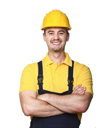 smiling manual worker isolated on white background