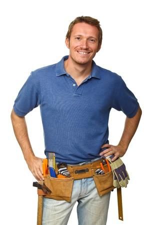 smiling handyman on white background fine portrait