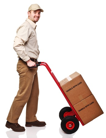 Photo pour friendly delivery man isolated on white background - image libre de droit