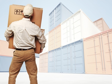 Foto de delivery man and industrial container 3d fine background - Imagen libre de derechos