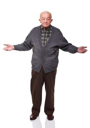 standing caucasian old man oper arms isolated on white