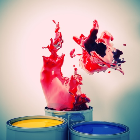 3d image of color metal tank and splash