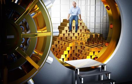 Photo pour smiling man sit on pile of gold bars - image libre de droit