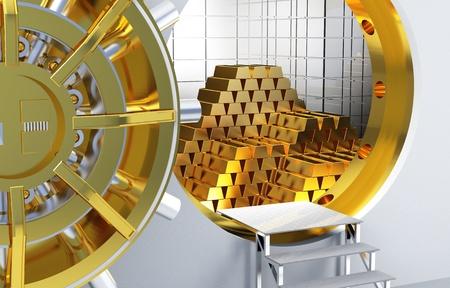 Photo pour bank vault and lots of gold bars - image libre de droit