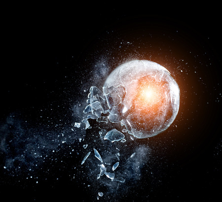 Photo for close up image of glass ball  explosion - Royalty Free Image