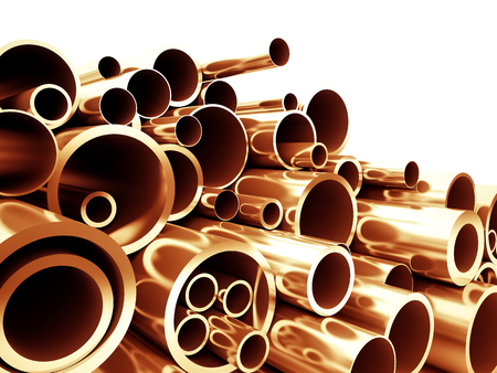 copper metal pipe 3d background