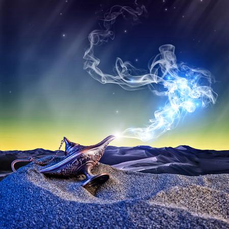 Photo for classic aladdin magic lamp in the desert night scene - Royalty Free Image