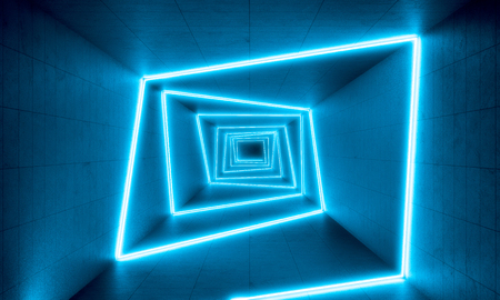 Foto per blue neon lights in concrete tunnel, 3d rendering image - Immagine Royalty Free