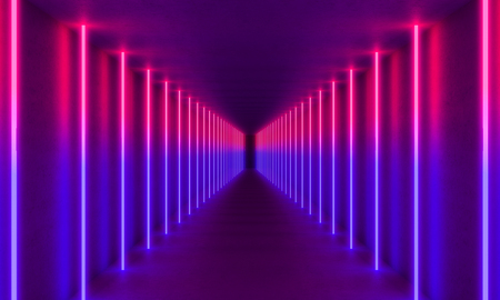 Foto per colorful neon light in concrete tunnel, 3d rendering image - Immagine Royalty Free