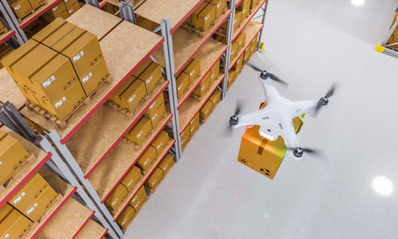 Photo for drones work in warehouse 3d rendering image - Royalty Free Image