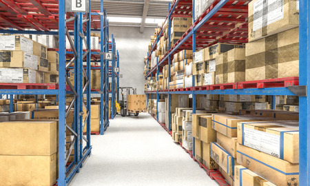 Photo pour Forklift at work in a warehouse full of pallets and parcels, sorting logistics center. 3d render image. - image libre de droit