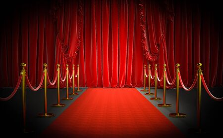 Photo pour red carpet and gold barriers with red rope and large curtains at the entrance. concept of luxury and exclusivity. 3d image render - image libre de droit