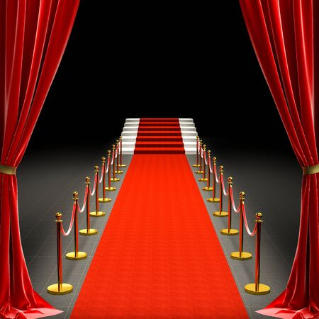 Foto de 3d image of a red carpet and a staircase. barriers with rope and satin curtains. concept of exclusivity. - Imagen libre de derechos