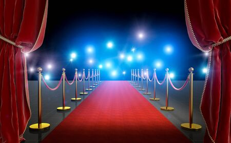 Photo pour VIP entrance with red carpet and curtains, gold colored barriers with satin cord. black background with flash of paparazzi. Concept of exclusivity and luxury. 3d render image. - image libre de droit