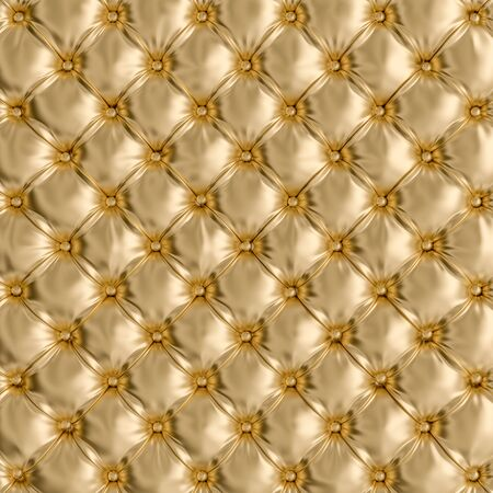 Photo pour detail of gold colored sofa texture. 3d render image. retro and classic background. Concept of exclusivity and luxury. - image libre de droit