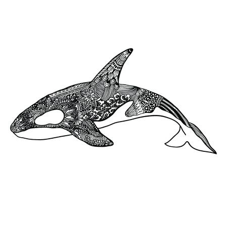 Illustration pour Ethnic Animal Doodle Detail Pattern - Killer Whale Illustration. - image libre de droit