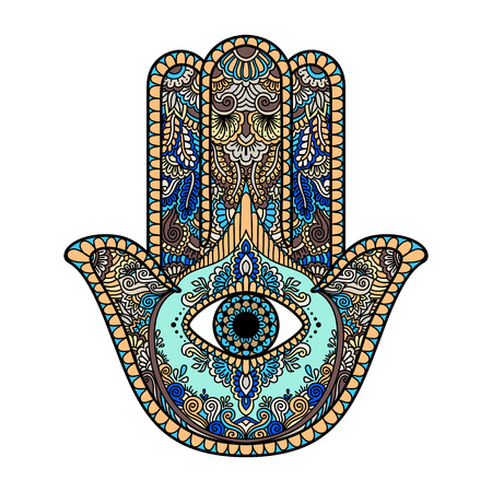 Illustration for multicolored illustration of a hamsa hand symbol. Hand of Fatima religious sign with all seeing eye. Vintage bohemian style. Vector illustration in doodle zentangle style. - Royalty Free Image