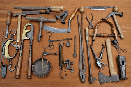 a group of old tools used