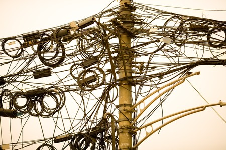 A tangle of cables and wires in Shanghai, China