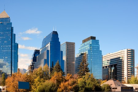 Skyline of Santiago de Chile new and modern business center