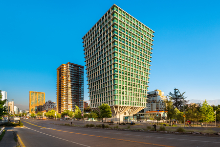 Santiago, Region Metropolitana, Chile - January 11, 2017: The Apoquindo Avenue one of the most important streets in the city for the location of high profile corporate and office buildings.