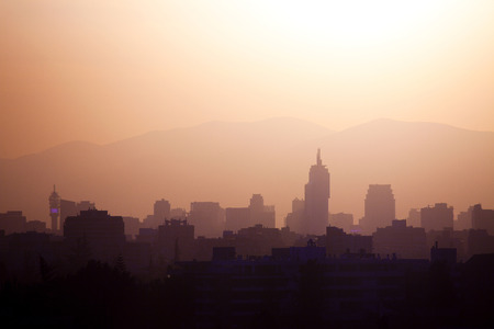 Skyline of downtown Santiago de Chile at sunset
