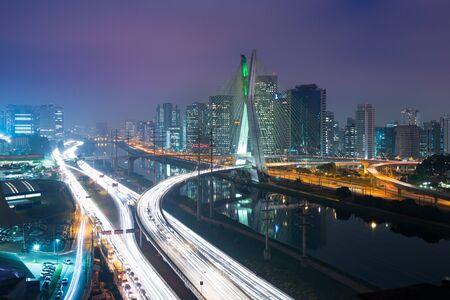 Photo for Skyline of Sao Paulo at night, Brazil - Royalty Free Image