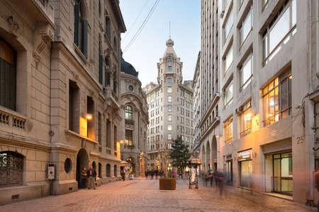Santiago de Chile, Region Metropolitana, Chile, South America - Aristia Building at New York Street at Stock Market neighborhood in downtown.