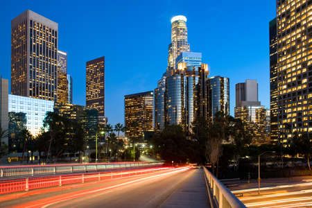 Photo for Skyline of skyscrapers at downtown financial district, Los Angeles, California, United States - Royalty Free Image
