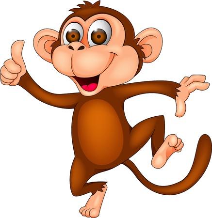 Illustration pour Dancing monkey with thumb up - image libre de droit