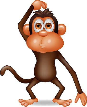 Illustration pour Monkey cartoon thinking - image libre de droit