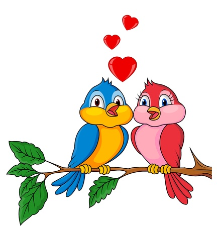 Illustration for Bird couple in love - Royalty Free Image