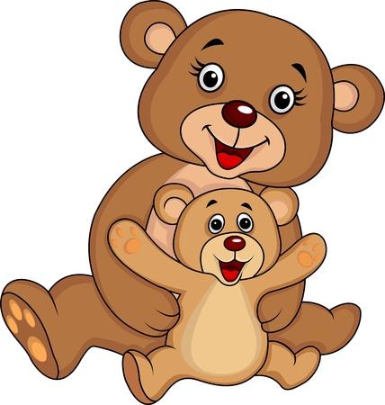 Illustration pour Mother and baby bear cartoon - image libre de droit