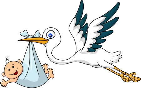 Illustration for Stork with baby  - Royalty Free Image