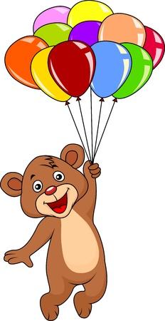 Ilustración de Cute teddy bear with balloons on white background - Imagen libre de derechos
